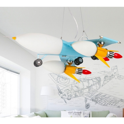 Novelty Airplane Shape 3 Lights Suspended Lamp Milky Glass Shade Hanging Lamp for Amusement Park