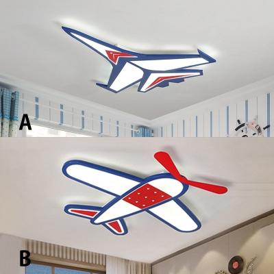 Adorable Acrylic Aircraft Flushmount Modernism Boys Children Room LED Ceiling Light in Blue