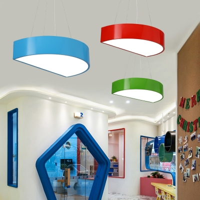 Semi Circle LED Pendant Lamp Contemporary Children Bedroom Acrylic Hanging Light in Blue/Green/Yellow/Red