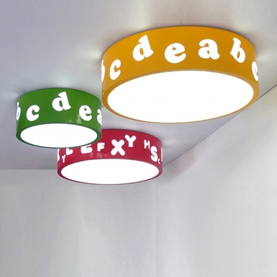 Round Shade LED Flushmount Kindergarten Acrylic Lighting Fixture in Green/Yellow/Red