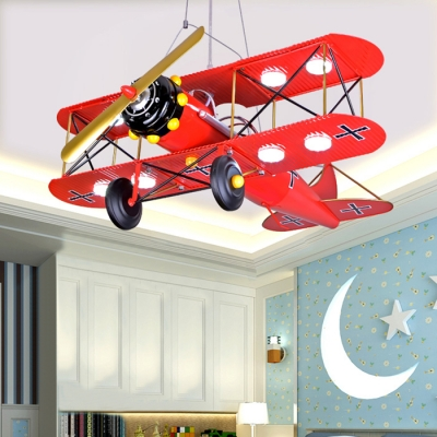 Vintage Retro Biplane 8 Lights Chandelier Navy Blue/Yellow/Red Metal LED Suspended Light for Amusement Park