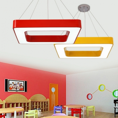 Colorful Stylish Square Hanging Light Sitting Room Acrylic Suspended Lamp in White/Third Gear