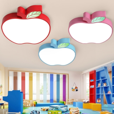 Acrylic Flush Mount with Apple Shade Stylish Blue/Pink/Red LED Lighting Fixture for Classroom