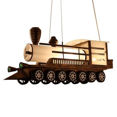 Train Shape Suspended Light Amusement Park Metallic LED Lighting Fixture in Antique Bronze Finish