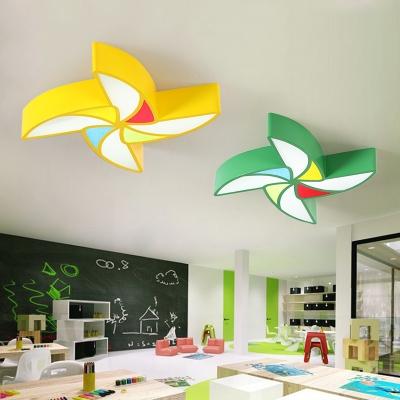 Nursing Room LED Flush Light Fixture Blue/Green/Yellow Windmill Lighting Fixture Acrylic