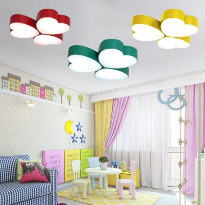 3 Heads Loving Heart Flush Light Kindergarten Acrylic Art Deco LED Ceiling Light in Green/Yellow/Red