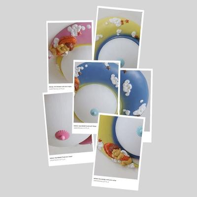 1 Light Bowl LED Flush Mount Cartoon Girls Bedroom White Glass Ceiling Lamp in Warm/White
