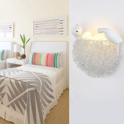 Nest Shape 4 Lights Wall Sconce White Glass Shade Art Deco Wall Mount Light for Living Room