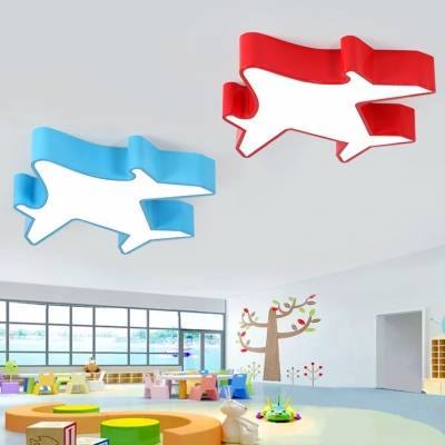 Modernism Aircraft LED Flush Mount Boys Room Kindergarten Acrylic LED Ceiling Fixture in Blue/Yellow/Red