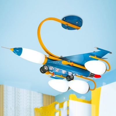 Airplane 4 Lights Hanging Lamp Metallic Chandelier Lamp with White Glass Shade for Baby Kids Room