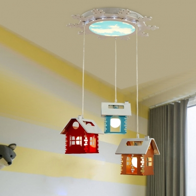 Metallic Hanging Lamp With House Design White 1 3 Lights Pendant Light