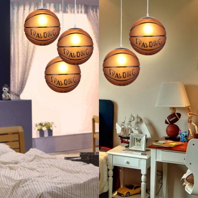 Football/Basketball Hanging Lamp Sport Theme Boys Bedroom Glass 1 Head Decorative Suspended Light