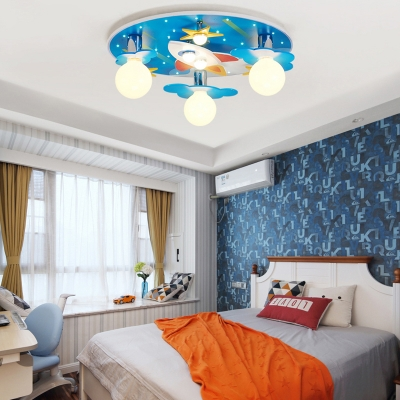 Acrylic Ultra Thin LED Flush Light Fixture with Star Design Boys Room 1/8 Light Ceiling Fixture in Blue