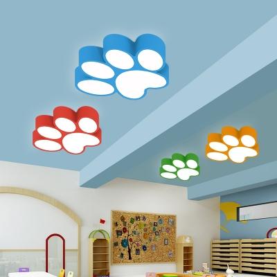Cartoon Modern Footprint Ceiling Light Acrylic LED Flush Mount Light for Children Kids Room