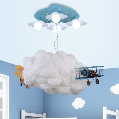 Plane Cloud 7 Lights Ceiling Chandelier Blue Finish Metal Flush Light Fixture For Boys Bedroom