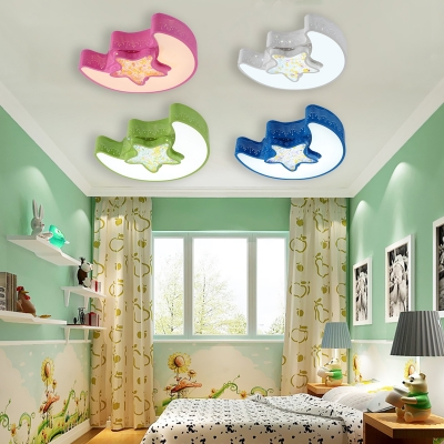 Moon and Stars LED Flush Light Colorful Modern Acrylic Ceiling Fixture for Kindergarten in White/Second Gear