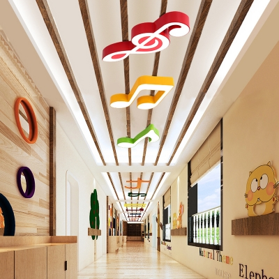 Acrylic LED Flush Light with Musical Note Colorful Decorative LED Ceiling Light for Baby Kids Room