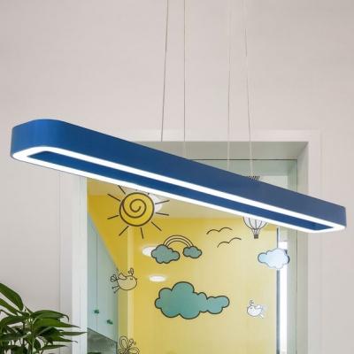 Blue Bar Shape Ceiling Pendant Lamp Modern Acrylic Suspended Light for Classroom Nursing Room