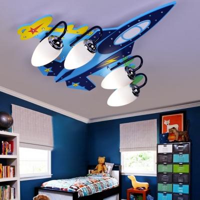 4 Lights Aircraft LED Flush Mount Amusement Park Acrylic Flush Light Fixture in White Light