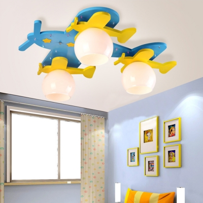 Remote Control Aircraft LED Flush Light Amusement Park 3 Lights Lighting Fixture with White Glass Shade