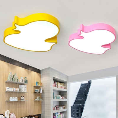 Lovely Pink/Yellow Duck Ceiling Lamp Acrylic LED Flush Light Fixture for Kindergarten Classroom