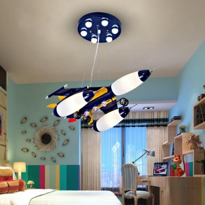 Airplane Chandelier Light Modern Children Bedroom Glass Shade 3 Lights Hanging Lamp In Warm White Beautifulhalo Com