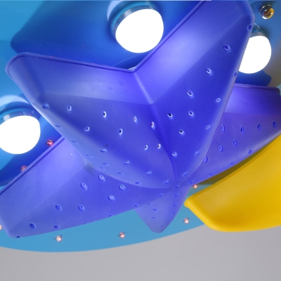 Moon and Star Ceiling Lamp Modernism Kindergarten Metal 6/7 Lights LED Flush Light in Blue