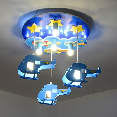 Remote Control Aircraft Suspended Lamp Boys Room Wood 7 Lights LED Flush Mount with Star