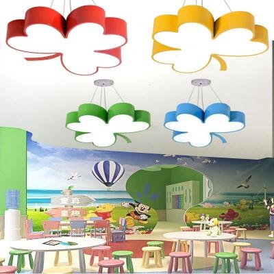 Cute Clover LED Flush Light Modern Blue/Green/Yellow/Red Acrylic Ceiling Lamp for Kindergarten