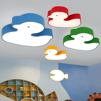 Cartoon Style Duck Ceiling Light Children Kids Room Acrylic LED Flush Mount in Blue/Green/Yellow/Red