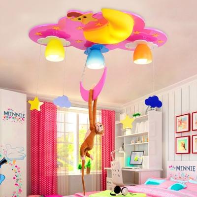 Cute 4 Lights Monkey Flush Light Nursing Room Decorative Wooden LED Ceiling Lamp in Blue/Pink
