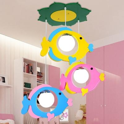 Lovely Fish 3 Bulbs Suspension Light White Glass Pendant Lamp for Kindergarten Nursing Room
