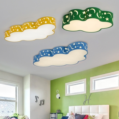 Acrylic LED Flush Light with Cloud Shape Contemporary Blue/Green/Yellow Ceiling Fixture for Kindergarten