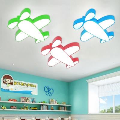 Cartoon Aircraft LED Flushmount Blue/Green/Red Acrylic Lighting Fixture for Children Room