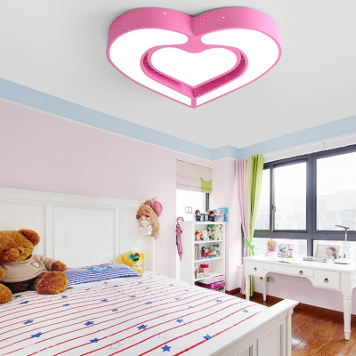 Lovely Acrylic Heart LED Flushmount Modern Design Girls ...