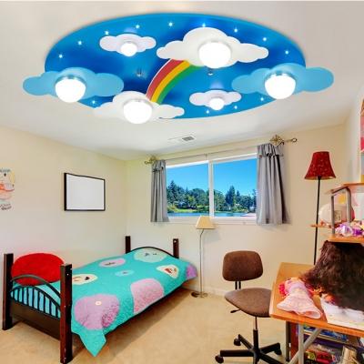 Remote Control 6 Lights Rainbow Flushmount Modernism Nursing Room Kindergarten Metal Ceiling Light in Blue