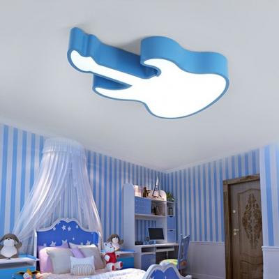 Lovely Guitar LED Ceiling Light Nursing Room Kindergarten Blue/Yellow/Red Acrylic Flush Mount