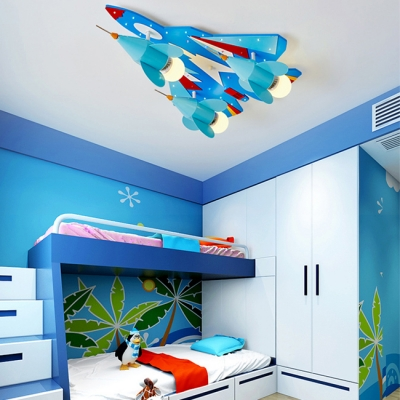 Boys Bedroom Aircraft LED Flush Mount Contemporary Metal 3 Lights Flush Light in White