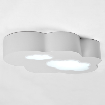 Single Head Cloud Design Ceiling Light Boys Girls Room Acrylic Decorative Lighting Fixture in Gray
