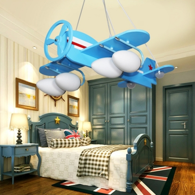 White Glass Shade Hanging Light with Plane Design Blue/Yellow 2/4 Lights Chandelier for Children