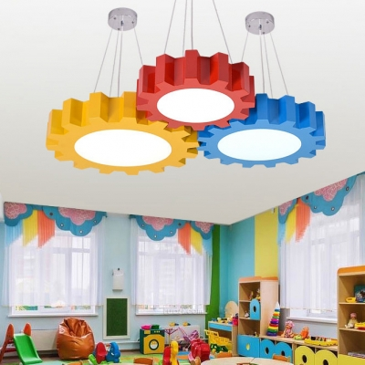 Acrylic Suspended Lamp with Gear Shape Blue/Yellow/Red LED Hanging Lamp for Children Bedroom Kindergarten