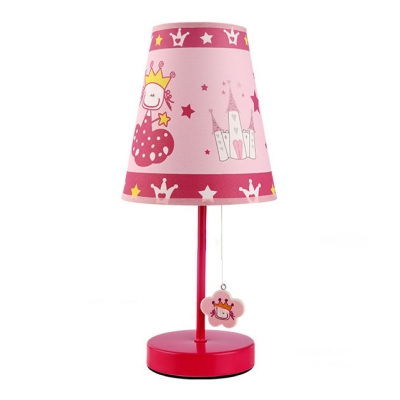 Pink Finish Cone Table Light with Princess Design Fabric Shade 1 Light Standing Table Lamp for Girls Room