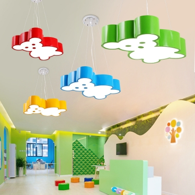 Acrylic Hanging Lamp with Bear/Kangaroo Colorful Modern LED Pendant Lighting for Baby Kids
