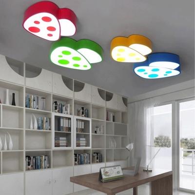 Mushroom Shape LED Flush Light Children Kids Bedroom Acrylic Ceiling Fixture in White Light
