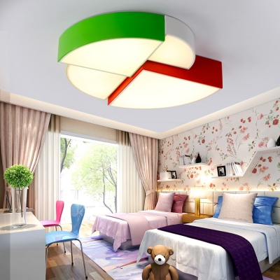 Creative Sector Shade Flush Mount Modern Kindergarten Acrylic LED Ceiling Fixture in Multi Color