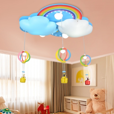 Multicolor Hot Air Balloon Hanging Light Acrylic 8 Lights LED Ceiling Flush Mount in Warm/White for Kids