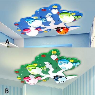 Plastic Tree LED Flush Mount Modernism Nursing Room 7 Lights Ceiling Fixture in Blue/Green