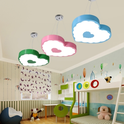 Acrylic Heart Pendant Light Contemporary Colorful Girls Room LED Hanging Light in White/Third Gear