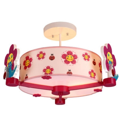 Drum Semi Flush Mount Light with Cartoon Flower Girls Bedroom Fabric 3 Lights Ceiling Fixture in Shock Pink