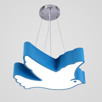 Bird 1 Head LED Hanging Light Blue/Green/Orange/Red Acrylic Ceiling Pendant Lamp for Children Bedroom